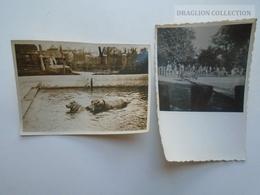 ZA194.12  Old Photo - Hungary - ZOO  - Állatkert -  Lot Of 2 Photos -Hippo Hippopotamus  WasserPferd  Hippopotame 1936 - Lugares
