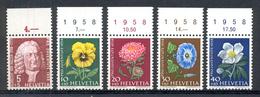 LIQUIDATION TOTALE : 1958 - Zu 173/77 - Mi N° 663/67 - Yv N° 616/20 - ** (MNH) Et (o) Oblitérés - Suisse