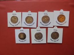 LOT De 2 EURO MALTE 7 DIFFERENTES  2011-2017 QUALITE UNC - EURO