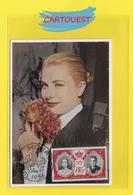 "1956 Avril Carte-Maximum  "" GRACIA "" Princesse De MONACO - Grace Kelly Mariage Rainier III ֎  Carmin Et Noir - 2 F - Cartas Máxima"