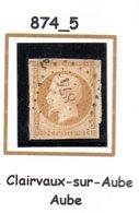 France : Petit Chiffre N° 874 : Claivaux Sur Aube  ( Aube ) Indice 5 - Marcophilie (Timbres Détachés)
