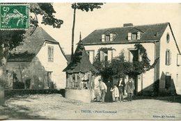 1141. CPA 64 THèZE. CARTE ENTIEREMENT DEDOUBLEE. PUITS COMMUNAL 1909 - Francia