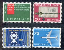 LIQUIDATION TOTALE : 1960 - Zu 351/54 - Mi N° 692/95 - Yv N° 639/42 - ** (MNH) Et Oblitérés (o) + 3 Documents - Suisse