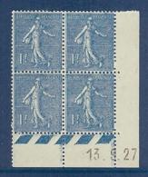 N° 205 SEMEUSE 1F COIN DATE DU 13/09/27 ** SUP - Coins Datés