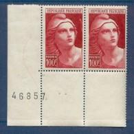 N° 733b MARIANNE DE GANDON VARIETE A LA BRETELLE TENANT A NORMAL ** - Variétés: 1945-49 Neufs