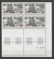 TAAF 1990 PA N° 111 ** Bloc De 4 Coin Daté Neuf MNH Superbe C 36 € Bateaux Découverte Terre Adélie Voilier Transport - Poste Aérienne