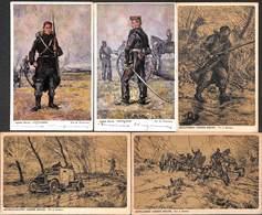 Armée Belge - Lot 5 Cartes (infanterie Artilleur Mitrailleuse...) - Patriotiques