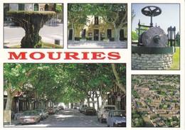 13 Mouries La Fontaine La Mairie Le Moulin Vue Aéreinne Et Le Cours (2 Scans) - Andere Gemeenten