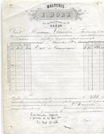 Facture 1880 / 54 NANCY Malterie E. DORR Pour Brasserie LEMAIRE 88 Fontenoy Le Château - 1800 – 1899