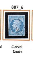 France : Petit Chiffre N° 887 : Clerval  ( Doubs) Indice 6 - Marcophilie (Timbres Détachés)