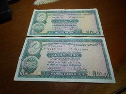 HONK  KONG  1972   -    10  DOLLARS     2   BILLETS    LOT - Hong Kong