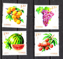 Cina   -  2016.  Pesche, Uva, Cocomero, Fragole. Peaches, Grapes, Watermelon, Strawberries. Complete MNH Series - Frutta