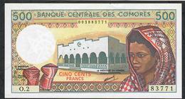 COMORES ERROR P10b INVERTED WATERMARK 500 FRANCS 1986 #O.2 Signature 2   UNC. - Komoren