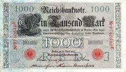 Billet Allemand De 1000 Mark Le 21 Avril 1910 - 7 Chiffres Rouge En T T B - - [ 2] 1871-1918 : German Empire