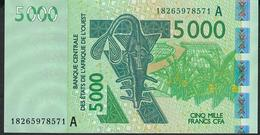 W.A.S. IVORY COAST P117Ar  5000 FRANCS (20)18 2018 UNC. - West African States