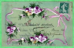 CARTE EN CELLULOID PEINTE MANUELLEMENT - DECOR DE PENSEES ET RUBANS - Fancy Cards