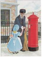 Postman, In Summer Uniform - Penfold Pillar Box - (England) - Post