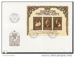 Liechtenstein 1981 75th Birthday Fürst Franz Josef II M/s FDC (F7730) - FDC