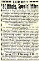 Original-Werbung/ Anzeige 1909 - MASCHINENFABRIK LUCKE - EILENBURG - Ca. 45 X 80 Mm - Publicités