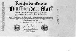 Billet Allemand De 500 Mark Le 7-juillet-1922 - 7 Chiffres Vert En T B -uniface - [ 3] 1918-1933 : Repubblica  Di Weimar