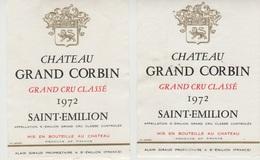 Etiquette De Vin - 1972 - SAINT EMILION GRAND CRU -  LOT B  - 2 Pc - Etiquettes