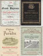 Etiquette De Vin - 1975-77-78-83 - SAINT EMILION GRAND CRU -  LOT C  - 4 Pc - Etichette