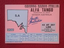 POSTAL TYPE POST CARD QSL RADIOAFICIONADOS RADIO AMATEUR GRUPPO ALFA TANGO ITALIA SOUTH AUSTRALIA S.A ADELAIDE ADELAIDA - Tarjetas QSL