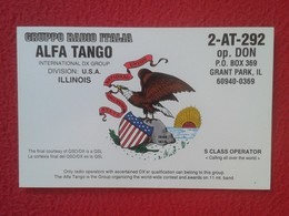 TARJETA TIPO POSTAL TYPE POST CARD QSL RADIOAFICIONADOS RADIO AMATEUR USA UNITED STATES ÁGUILA CALVA BALD EAGLE ILLINOIS - Tarjetas QSL