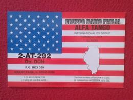 TARJETA TIPO POSTAL TYPE POST CARD QSL RADIOAFICIONADOS RADIO AMATEUR DIVISION USA UNITED STATES FLAG ILLINOIS BANDERA - Sin Clasificación