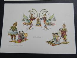 19923) BIRMANIA MYANMAR DANZA DELLE FARFALLE DANZE SERIE SECONDA ILLUSTRATORE YVES CASA MAMMA DOMENICA - Myanmar (Burma)