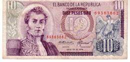 Colombia P.476 10 Pesos 1976 Vf - Colombia