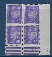 """FR Coins Datés YT 509 """" Pétain 60c. Violet """" Neuf** Du 17.2.42 - 1940-1949"""