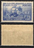 GUADALUPE - 1938 - UNIONE INTERNAZIONALE CONTRO IL CANCRO - CURIE - LA SCOPERTA DEL RADIUM - MNH - Nuovi