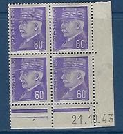 """FR Coins Datés YT 509 """" Pétain 60c. Violet """" Neuf** Du 21.1.43 - 1940-1949"""
