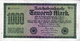 Billet Allemand De 1000 Mark Le 15 Septembre 1922 - En T T B - - [ 3] 1918-1933 : Repubblica  Di Weimar