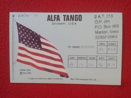 TARJETA TIPO POSTAL TYPE POST CARD QSL RADIOAFICIONADOS RADIO AMATEUR DIVISION USA UNITED STATES FLAG BANDERA ALFA TANGO - Tarjetas QSL