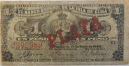 Billet De Cuba 1 Peso Avec Surcharge PLATA 1896 Pick 47b, Bon état,petite Déchirure De 2 Mm, A Circulé. Prix Bradé - Cuba