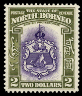 North Borneo , 1939 , $2 Green & Purple , SG.316 , CV$370,  MNH** - North Borneo (...-1963)