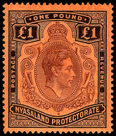 Nyasland , 1938,  £1 Black  On Red, SG .143,  MNH** - Unclassified