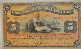 Billet De Cuba De 5 Pesos Avec Surcharge PLATA 1896 Pick 48b,Trés Bon état - Cuba
