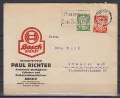 Danzig Illustrierter Firmenbrief Danzig 1935 MiF 194+214 Nach Dresden - Danzig