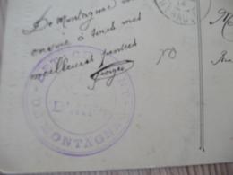 Sur CPA Montpellier 1914 Cachet Bleu Militaire Détachement De Montagnac - Marcophilie (Lettres)