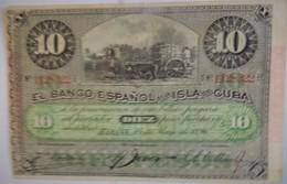 Billet De Cuba De 10 Pesos Avec Surcharge PLATA 1896 Pick 49d,neuf/UNC - Cuba