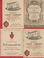 Etiquette De Vin - 1970-72-73 - LALANDE-DE-POMEROL -  LOT A - 4 Pc - Etiquettes