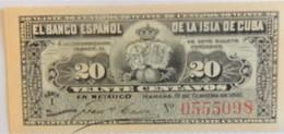 Billet De Cuba De 20 Centavos 1897 Pick 53,neuf/UNC - Cuba