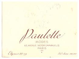 PAULETTE  MODES  AVENUE VICTOR EMMANUEL III   PARIS 8    CARTE GAUFFREE - Cartes