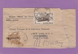 RARE BANDE JOURNAL DE LA FRANCE LIBRE POUR NEW YORK. - Camerún (1915-1959)