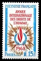 POLYNESIE 1968 - Yv. 62 ** SUP  Cote= 13,20 EUR - Année Intern. Des Droits De L'Homme  ..Réf.POL23798 - Französisch-Polynesien