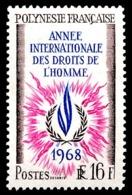 POLYNESIE 1968 - Yv. 63 ** TB  Cote= 13,20 EUR - Année Intern. Des Droits De L'Homme  ..Réf.POL23799 - Französisch-Polynesien