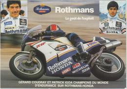 Moto :  Rothmans- Honda , G. Coudray Et P. Igoa  Champions Du  Monde - Motorbikes